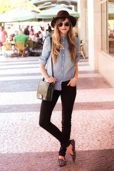 Black skinnies, chambray shirt, polka dot loafers, and sunglasses