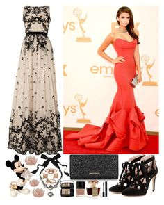 """""""Primetime Emmy Awards with Nina Dobrev"""" by little-onedirection ❤ liked on Polyvore featuring Adrianna Papell, Miu Miu, Jimmy Choo, Lanvin, Eva Fehren, Finn, Lancôme, Butter London, Roja Parfums and Lenox"""