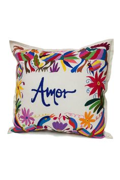 """Otomi Embroidered Pillow - """"Amor"""" in Multi Color Custom Pillows, Decorative Pillows, Mexican Style Decor, Mexican Bedroom, Mexican Embroidery, Embroidered Pillowcases, Fabric Painting, Pillow Cases, Decoration"""