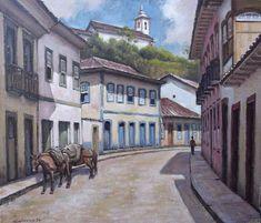 Quadro Pintura Óleo Tela Casario O. Preto 38x44 Frete Grátis - R$ 400,00 em Mercado Livre