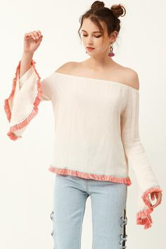 Alicka Tassle Off-the-Shoulder Blouse Discover the latest fashion trends online at storets.com