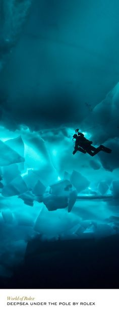 Deep sea Under the Pole by Rolex – a pioneering adventure – combined ski trekking and scuba diving above and under the North Pole ice cap. Cave Diving, Scuba Diving, Diving Logo, Diver Down, Kayak, Deep Blue Sea, Sea World, Underwater Photography, Ocean Life