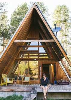 Cabin Love Tiny House Cabin, Cabin Homes, Tiny Homes, Cabins In The Woods, House In The Woods, Triangle House, Haus Am See, Boutique Homes, The Great Outdoors