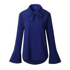 2017 New Solid Color Lace-Up Long Sleeve Shirt - Royal - Xl