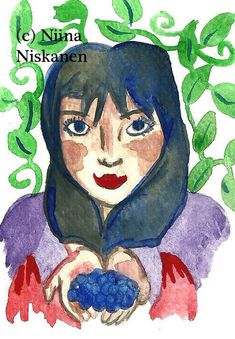 """Listing of my ACEO painting called """"Have some berries"""". Showing a maiden offering some tasty blueberries. This is an original watercolor card created on acid free watercolor paper. Artwork is signed and dated on the back. Notice that colors may vary due Watercolor Paintings Nature, Watercolor Cards, Trading Card Sleeves, Original Artwork, Original Paintings, Artist Card, Paper Artwork, Talent Management, Artist Trading Cards"""