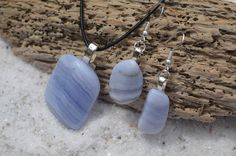 Blue Lace Agate Stone Earrings and Necklace on a Leather Cord