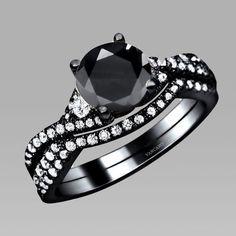 4-prong Black Main Cubic Zirconia Black Wedding Bridal Ring Set #gothic #gothicwedding #goth #gothicweddingrings Gothic wedding ring