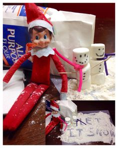 Snow time for our elf on the shelf