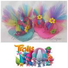 Trolls flip flop , satin ribbon wrapped shoe with tulle troll hair, available in multi color or solids. Blue and purple only available in size by special request. Trolls Birthday Party, Troll Party, Frozen Birthday, 3rd Birthday, Birthday Parties, Fun Crafts, Crafts For Kids, Troll Costume, Tutu Party