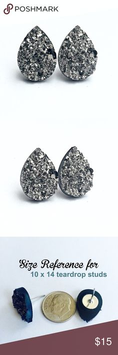 3 for 15 grey Druzy style teardrop studs New! Handmade by me 10x14mm acrylic faux druzy teardrop bead on silver tone posts. Silver backings. Lead & nickel free. PRICE FIRM if purchasing 1 pair($8). No trades.  ➡️TO GET 3 FOR 15 deal⬅️ ✅Click Add to Bundle under any 3 items (marked 3 for 15) ✅Make offer for $15 ✅I'll accept your offer ✅ Additional items $5 each so 4 pairs=$20, 5 pairs=$25, etc. If you need help, let me know  thejeweladdict Jewelry Earrings