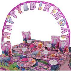 Partyset Trolls Geburtstag Kinder Geburtstagsfeier Girlande Feier Partygeschirr