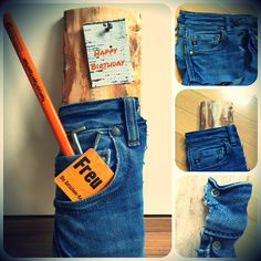 Geschenkidee für einen Baumarkt-Gutschein. Tasche von alter Jeans rausschneiden und auf holzbrett verschrauben, Gutschein in die Tasche stecken und fertig.  #present #men #idea #diy #hornbach