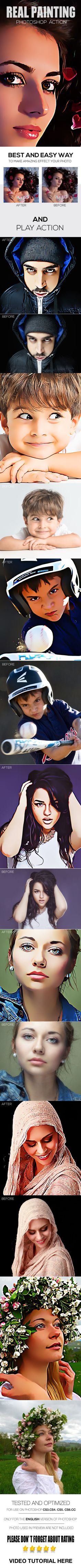 Real Painting Photoshop Action - Photo Effects Actions