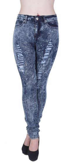 1436 - VIP Jeans - Super High Rise, Ripped Acid Wash Stretch Skinny Jeans  in Washed Dark Blue Size 3 4. These are Junior sizes, please use Junior  size chart ... 0437ce598c5c