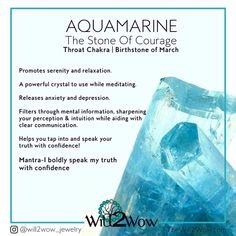 Aquamarine March's Birthstone  Will2wow jewelry  Stone of Courage  Crystal healing