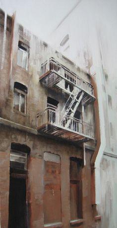 "Kim Cogan, ""Red Fire Escape,"" oil, 43 x 22 in. / Maxwell Alexander Gallery"