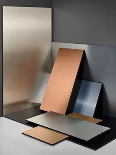 Frank Hülsbömer X Thierry Kauffmann Interior Design Color Schemes, Colour Schemes, Price Tag Design, Mood Board Interior, Colour Architecture, Material Board, Colour Board, Metallic Colors, Mood Boards