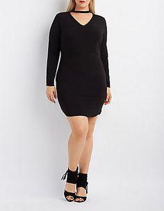 CR : Plus Size Cut-Out Mock Neck Bodycon Dress