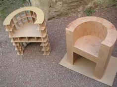 Armchair Round Kraft (and construction) Cardboard Chair, Diy Cardboard Furniture, Cardboard Box Crafts, Cardboard Design, Paper Furniture, Cardboard Sculpture, Cardboard Paper, Funky Furniture, Furniture Projects
