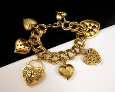Vintage Chunky Gold Tone Heart Charm by CharmedVintageJewels $38.00 SOLD