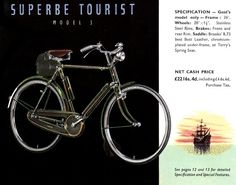 "Print ad for Raleigh Superbe Tourist with 28"" wheels and rod brakes"