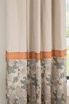 """Savannah"" drape with tangerine Greek key trim from Drapery Street"