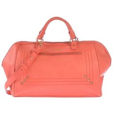 Pre-owned Paul & Joe Nwt & Sister Blaise Handbag Coral Tote Bag ($224) ❤ liked on Polyvore featuring bags, handbags, tote bags, coral, studded crossbody purse, coral tote, red crossbody purse, crossbody tote and zip tote