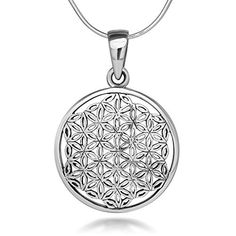 925 Sterling Silver Flower of Life Mandala 22 mm Circle Round Charm Pendant Necklace 18 inches -- Want to know more, click on the image.