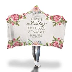 Christian hooded blanket with bible verse Romans he works all things for the good of those who love him. Perfect christian gifts for husband, for wife, for children, for son and your loved one Bible Verses About Strength, Quotes About Strength In Hard Times, Bible Verses About Love, Quotes About God, Prayer Verses, Prayer Quotes, Bible Verses Quotes, Faith Quotes, Quotes Marriage