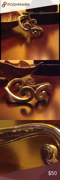 """Brighton's Versailles Royale Hinged Bangle Magnetic hinged, brushed silver, hammered finished, with the words """" knowledge is power"""" etched inside. From the Versailles collection. Worn only once, like New! Brighton Jewelry Bracelets"""