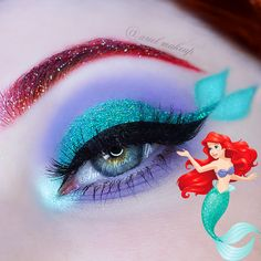 Ariel Make Up ~ Make Up & Beauty with a Princess Touch: ♕ The Mermaid Series ~ Ariel ♕{Inspired by Laura Disney Eye Makeup, Ariel Makeup, Disney Inspired Makeup, Disney Princess Makeup, Disney Character Makeup, Mermaid Eye Makeup, Little Mermaid Makeup, Fish Makeup, Mermaid Hair