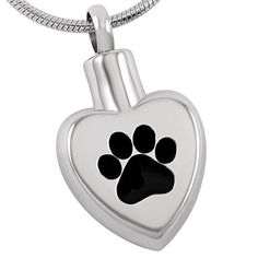 "Life Lockets Cremation Jewelry ""Black Paw"" Necklace (Black) - A Unique Cremation Urn Keepsake"