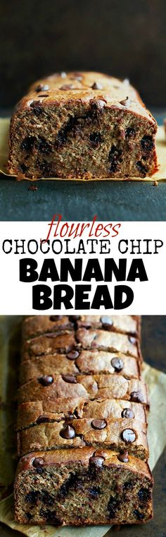 This Flourless Chocolate Chip Banana Bread is made with NO flour, butter, or oil, but so soft, tender, and flavourful that you'd never be able to tell! | runningwithspoons...