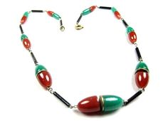 Art Deco Necklace Carnelian Glass Jade Glass Necklace 1920s Vintage Jewelry