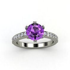 Round Amethyst Palladium Ring with Diamond - lay_down