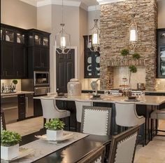 Transitional Kitchen, with brick accent range hood. Transitional Kitchen, with brick accent range hood. New Kitchen, Kitchen Dining, Kitchen Decor, Kitchen Ideas, Kitchen Layout, Kitchen Pantry, Kitchen Interior, Apartment Interior, Taupe Kitchen