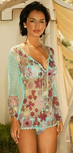conjunto crochet... This could have so many ideas, tank or make it longer for a dress, or a long tunic top...