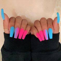 In search for some nail designs and ideas for your nails? Here's our list of 28 must-try coffin acrylic nails for fashionable women. Best Acrylic Nails, Acrylic Nail Designs, Best Nails, Colored Acrylic Nails, Acrylic Nail Art, Glow Nails, Matte Nails, My Nails, Nagellack Design