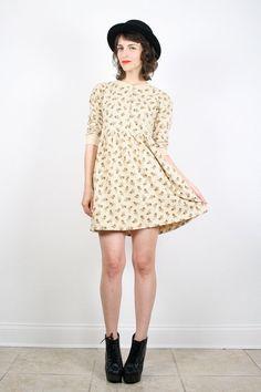 Vintage 90s Grunge Dress Mini Dress Beige Tan by ShopTwitchVintage, $42.00