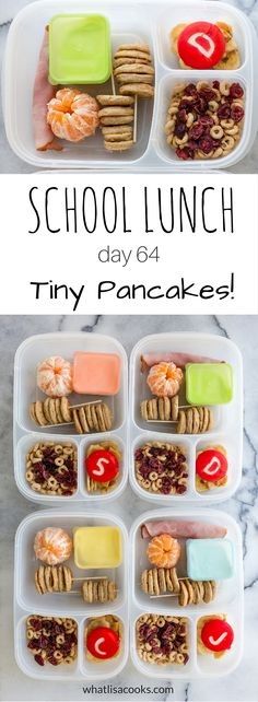 Nothing beats tiny pancakes for lunch! School Lunch Day 64 from… Non Sandwich Lunches, Lunch Snacks, Lunch Recipes, Baby Food Recipes, Kid Snacks, Healthy Recipes, Whats For Lunch, Lunch To Go, Lunch Meal Prep