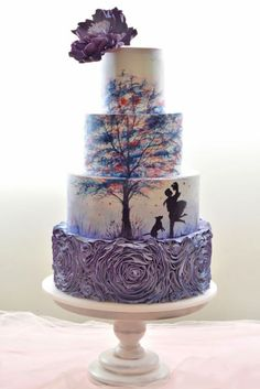 18 Eye-Catching Unique Wedding Cakes :heart: See more: www. From birdcage to fairy tale we're gathered unique wedding cakes to help you find some inspiration and do your wedding for 100 percent awesome! Amazing Wedding Cakes, Unique Wedding Cakes, Unique Cakes, Creative Cakes, Amazing Cakes, Cake Wedding, Wedding Cake Purple, Unique Birthday Cakes, Painted Wedding Cake