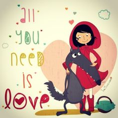 Illustration of Little Red Riding Hood hugging Wolf #KOTAWesome