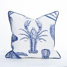 Lobster Pillow / Indigo - Newport Collection - #BeachPillows  #CoastalPillows  #CoastalHomePillows