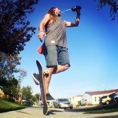 @waywardnephew hydrating #SkateLife Re-gram from @leftoversp #HaveFunThinkDifferent #AlmostSkateboards