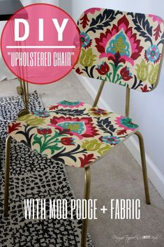"""AWESOME!  """"Upholster"""" a plain wood chair with fabric and Mod Podge!  Full tutorial by Designer Trapped in a Lawyer's Body for All Things Thrifty!"""