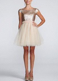 This stunning cap sleeve sequin tulle Homecoming dress is perfect for any true girlie-girlie! Style 26B6204TQI. #davidsbridal #homecoming2013
