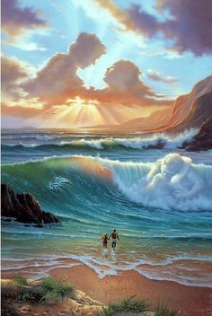 Surrealismo / Surrealism  i love the way he displays aspects of love in this scene, within the sky, ocean and land stunningly beautiful