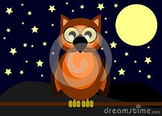 Image representing a cute owl at night. An image to use for all project about this animal.