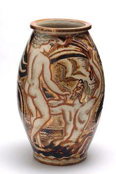 René Buthaud (France 1886-1987) vase, gilded glazed earthenware, 1930. Musée des Arts décoratifs, Paris.