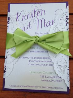 ABOUT THIS POSTING  A beautiful set of wedding invitations a with an elegant look and a lace element. Printed on a specialty paper with an
